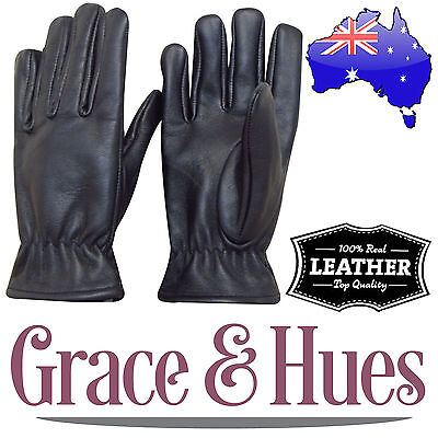 Men's Genuine / Real Leather Gloves - Large - Winter / Snow / Bike / New Stock