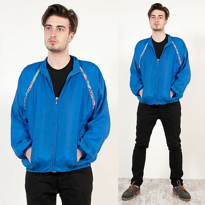 Vintage 90'S Blue Abstract Patterned Trim Zip Fasten Shell Tracksuit Jacket L