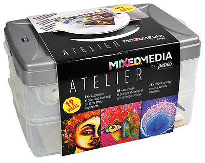 Pebeo Mixed Media Atelier Workbox Set #1 Vitrail, Prisme, Moon Paint + More