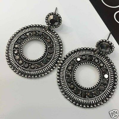 New Woman Statement clear crystal Rhinestone long Ear Studs hoop earrings 998