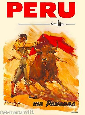 Peru Inca South America Bull Fighter Vintage Travel Advertisement Poster