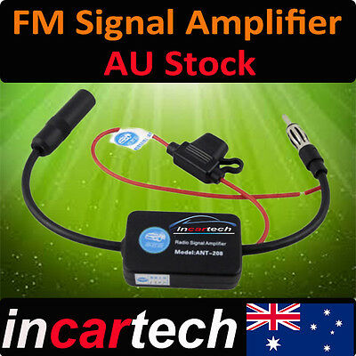 OZ Deluxe Inline Car Antenna Aerial Radio FM Signal Amp Amplifier Booster NEW