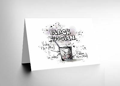 dcf530e40f59e New Black Russian Cocktail Drink Blank Greetings Birthday Card Art Cl268