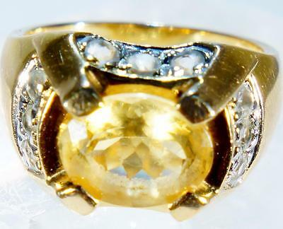 Very Nice Citrine Ring with CZ Accents Gold Over Silver Size 6.75