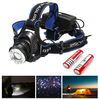CREE XM-L XML T6 LED Rechargeable Head Torch Zoomable Headlamp Headlight -2000LM