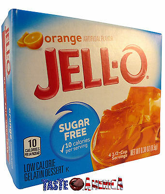 Jell-O Orange Sugar Free Gelatin Dessert Mix Jello 8.5g