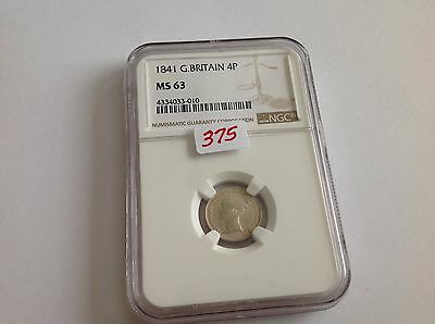 1841 Great Britain Fourpence NGC MS 63 Key Date