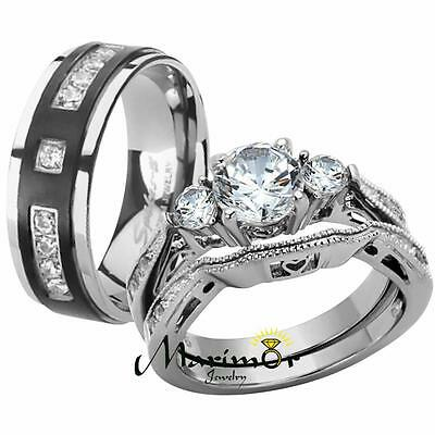 Her & His Stainless Steel Wedding & Engagement Ring & Titanium Wedding Band Set