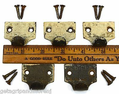 Antique DRAWER PULL Lot of 5 CARD CATALOG PULLS Ornate CAST IRON Superb Patina!!