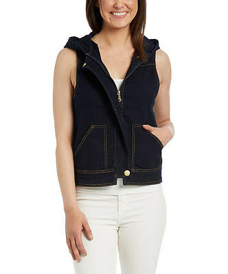 NWT Dark Indigo Stretch Denim Vest with Hoodie Women size S to 3XL - SG-65887