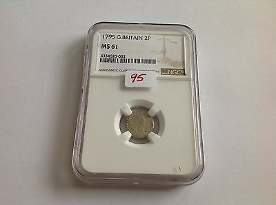 1795 Great Britain 2P NGC MS 61