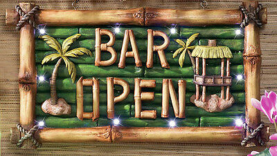 Tiki Bar Open Lighted Sign Luau Pool Party Wall Decor Bamboo-Look Hanging Plaque