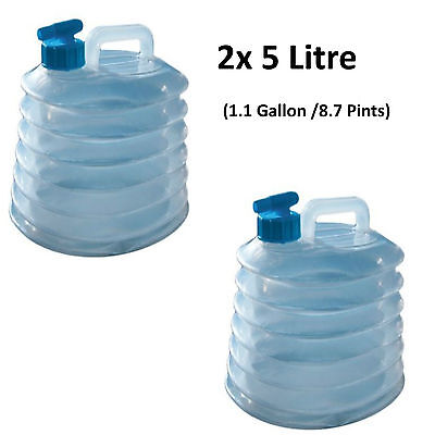 2 x 5L Water Carrier Container Foldable Collapsible With Tap Camping Bottle