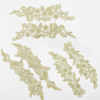 1 Pair Sewing Gold Polyester Lace Trim Costume Dress Appliques Decor DIY Craft