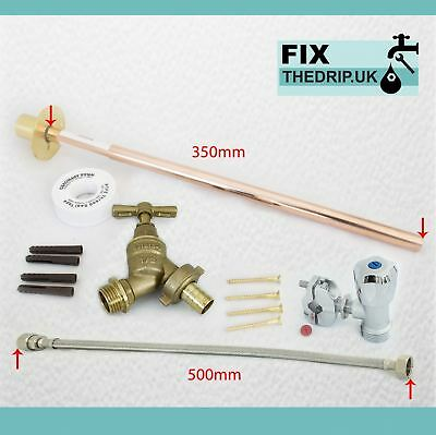 Outside Tap Kit | Through Wall Flange, Self Cut Valve & Flexi Connector