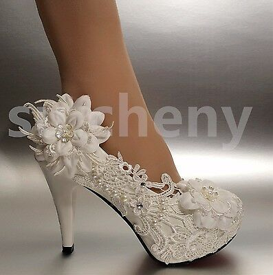 "2/3/4"" White ivory heels lace ribbon crystal pearl Wedding shoes bride size 5-12"
