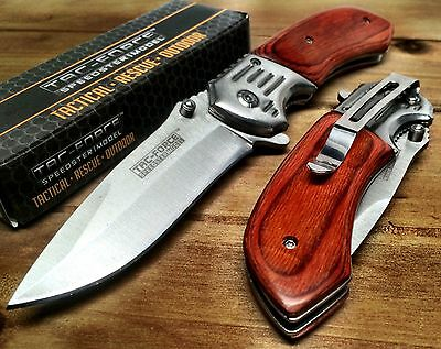 Tac-Force Spring Assisted GentleMen's pocket knife Wood Handle Sharp Hunt 938SW