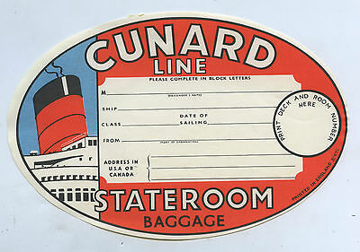 1950 Oval Shaped Cunard Liner Stateroom Baggage Gummed Label Rms Queen Mary N32