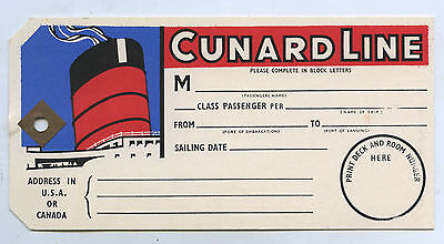 C.1950's Oblong Shaped Cunard Line Tie On Luggage Card/ Tag Rms Queen Mary N33