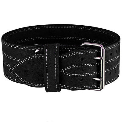 BILLZAN Nubuck Leather Weight Lifting PowerLifting Belt Back Support GYM Black