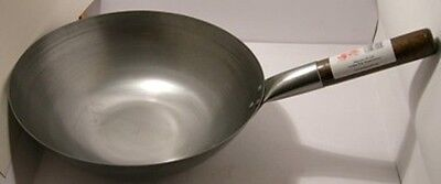 "Wok Carbon steel 14""/35.5cm 13cm deep Flat base Guaranteed Quality"