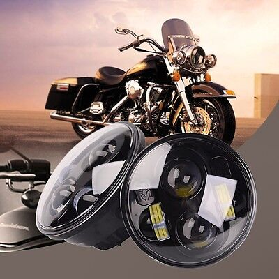 "Hi-Lo Beam 5.75"" Projector 40W Round LED Headlight Motorcycle Light For Harley"