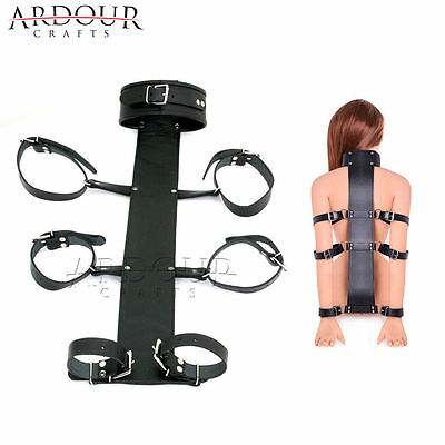 100% Genuine Leather Neck Collar Wrist Cuffs Arms Bed Restraint Back Slave BDSM