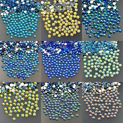 Color AB Non Hotfix Rhinestones 1440pcs 10Gross Crystal Flatback Nail Art Top