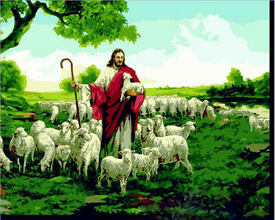 DIY Paint By Number 16*20inches kit Oil Painting Jesus shepherd On Canvas 081