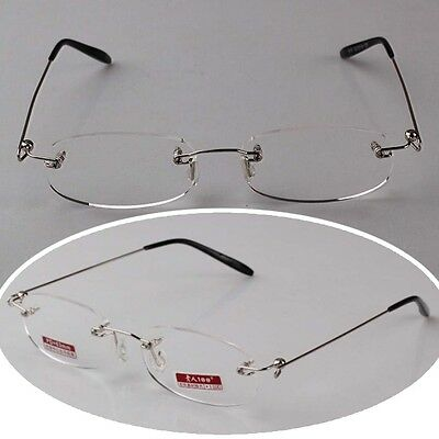Unisex Clear Reading Glasses Eyeware Spectacles Rimless Eyeglasses With Case