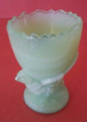 Antique French Milk Glass Green Egg Cup - Chicken - Signed Portieux