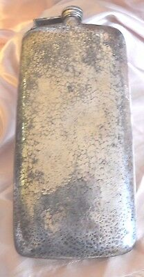 "Antique E&JB Hammered SilverPlate 10.5"" Tall Boot Flask"