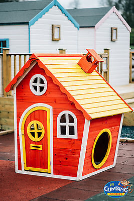 Wooden Crooked Kids Childrens Playhouse Outdoor fun climbing frame READY PAINTED