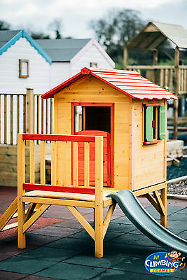 Wooden Kids Childrens Playhouse with SLIDE Outdoor climbing frame READY PAINTED