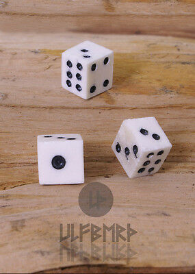 Bone Dice Set of 3 Medieval Games Living History Reenactment SCA #34340
