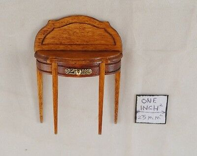 Half Round Side Table walnut finish dollhouse miniature  wooden T6030 1/12 scale