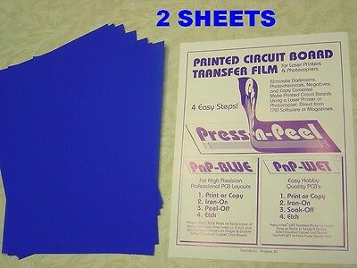 Press-n-Peel Blue PCB Transfer Paper Film Etch Circuit Boards Jewelry 2 Sheets