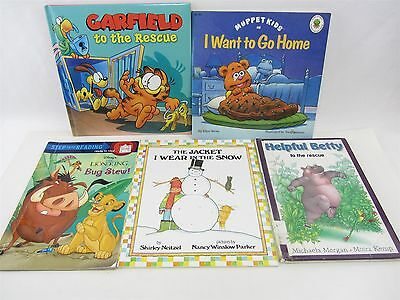 5 Lot Children HC Books - Garfield To The Rescue Muppet Kids Lion King Bug Stew