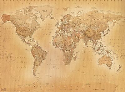 Old style vintage World Map Wallpaper Wall Mural 2.32m x 3.15m New (FREE P+P)