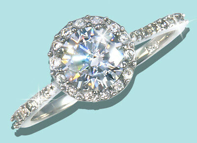 3 ct Halo Ring  Top Russian Quality CZ Simulated Mossanite Imitation SS Size 5
