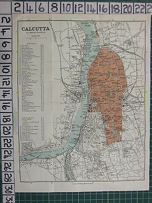 1926 India Indian Tourist Map ~ Calcutta City Plan Post Office Statues Momument