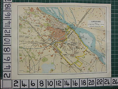 1926 India Indian Tourist Map ~ Cawnpore City Plan Cantonment Parks Gargens