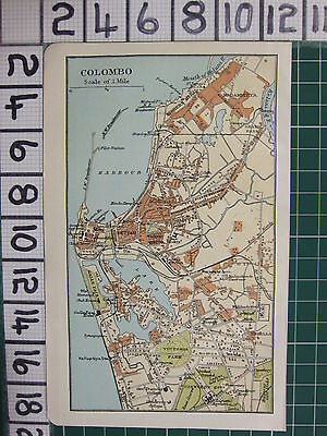 1926 India Indian Tourist Map ~ Colombo Environs Pettah Stations Parks