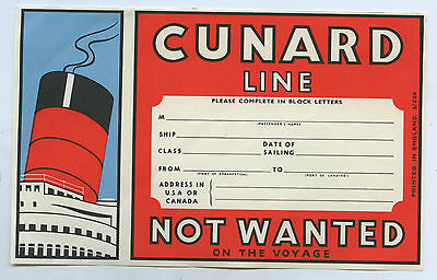 C.1950's Oblong Shaped Cunard Line Not Wanted On The Voyage Rms Queen Mary N34
