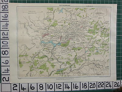 1926 India Indian Tourist Map ~ Ootacamund Hobart Park Jail Tea Estate