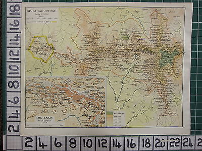1926 India Indian Tourist Map ~ Simla & Jutogh The Bazar Observatory Elysium