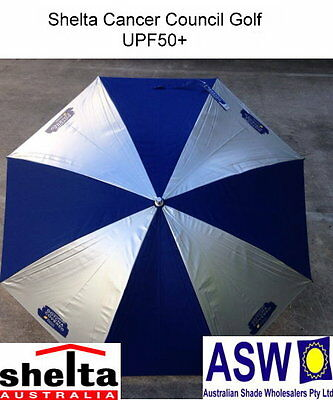 UPF50+ GOLF UMBRELLA Shelta CANCER COUNCIL Rain Sun SILVER/NAVY RU-SHGCC