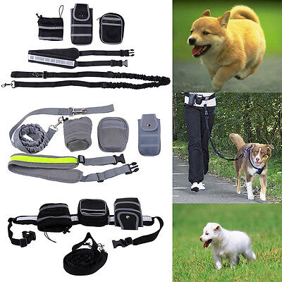 Hands Free Pet Dogs Leash Waist Belt For Jogging Walking Running Harness Bag NEW