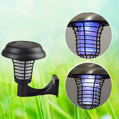 Solar Powered Mosquito Fly Bug Insect Zapper Killer LED Outdoor Garden Trap Lamp