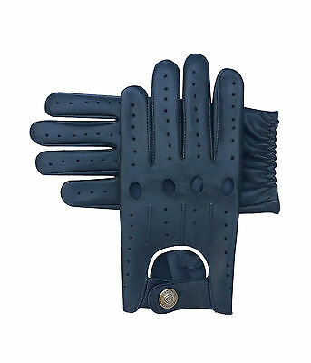 Top Quality Real Soft Leather Men's Fashion Driving Gloves Beige Piping